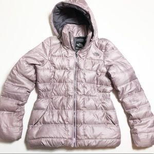 North Face Ashen Purple Pewter Zipper Puff Jacket